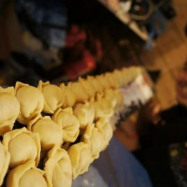 Pelmeni (dumplings), famous Siberian dish.. And we use a fat ski to cook it!