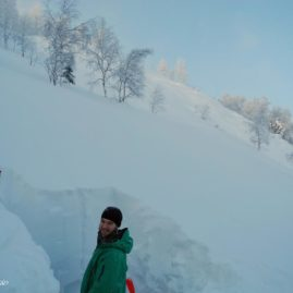 Safety is our priority. But this picture is not only about snow stability, it is also about depth of snow in Luzhba. Beginning of December, and already 2+ meters!